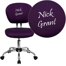 Embroidered Mid-Back Purple Mesh Padded Swivel Task Office Chair with Chrome Base