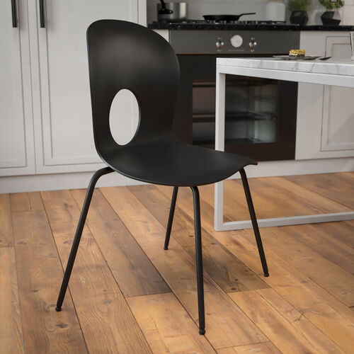 HERCULES Series 770 lb. Capacity Designer Plastic Stack Chair with Black Frame