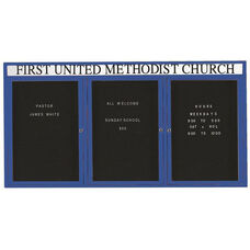 3 Door Indoor Illuminated Enclosed Directory Board with Header and Blue Anodized Aluminum Frame - 36