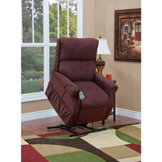 Economy Model Two Way Reclining Power Lift Chair with Heat and 2 Vibrate Settings - Encounter Wine Fabric