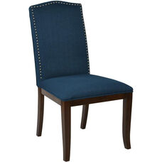 Ave Six Hanson Dining Chair with Silver Nail Head Trim - Klein Azure Fabric