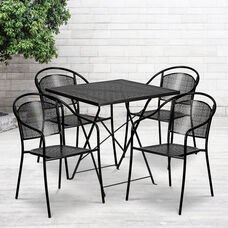"""Commercial Grade 28"""" Square Black Indoor-Outdoor Steel Folding Patio Table Set with 4 Round Back Chairs"""