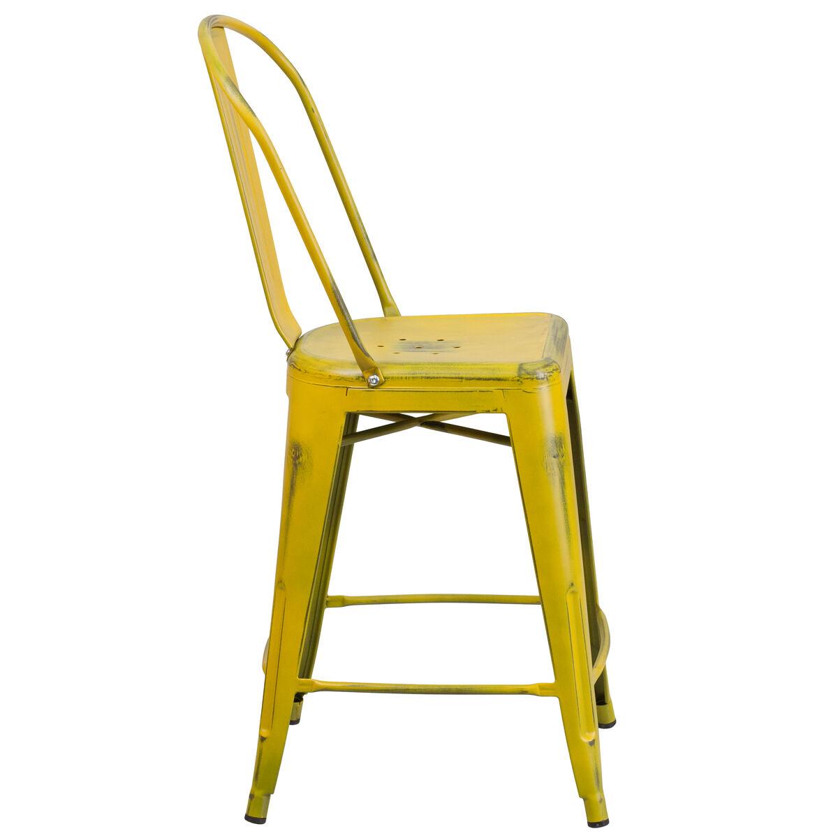 Distressed Yellow Metal Stool Et 3534 24 Yl Gg Bizchair Com