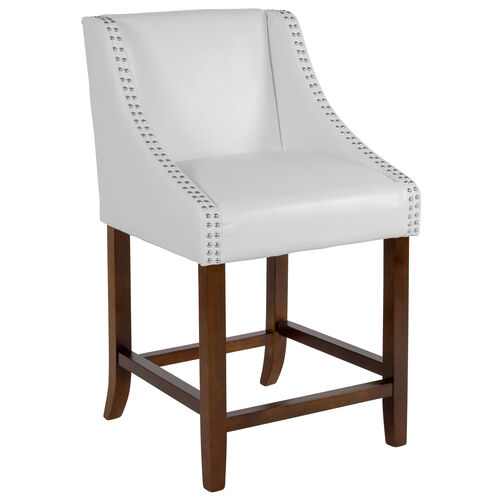 "Our Carmel Series 24"" High Transitional Walnut Counter Height Stool with Accent Nail Trim in White LeatherSoft is on sale now."