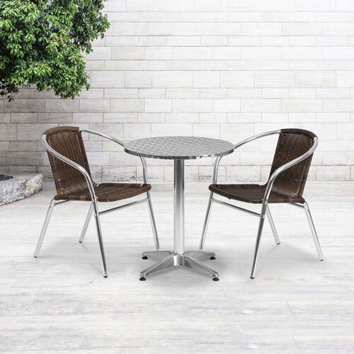 Our Commercial Aluminum and Dark Brown Rattan Indoor-Outdoor Restaurant Stack Chair is on sale now.