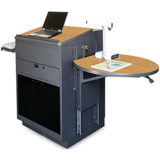 Vizion Collabritive Stationary Teachering Center Lectern with Acrylic Doors - Dark Neutral Powdercoat Paint and Oak Laminate