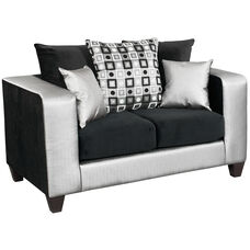 Riverstone Implosion Black Velvet Loveseat with Black & Shimmer Steel Frame