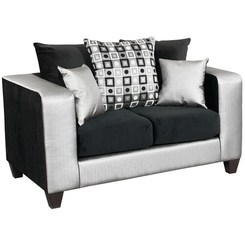 Our Riverstone Implosion Black Velvet Loveseat with Black & Shimmer Steel Frame is on sale now.