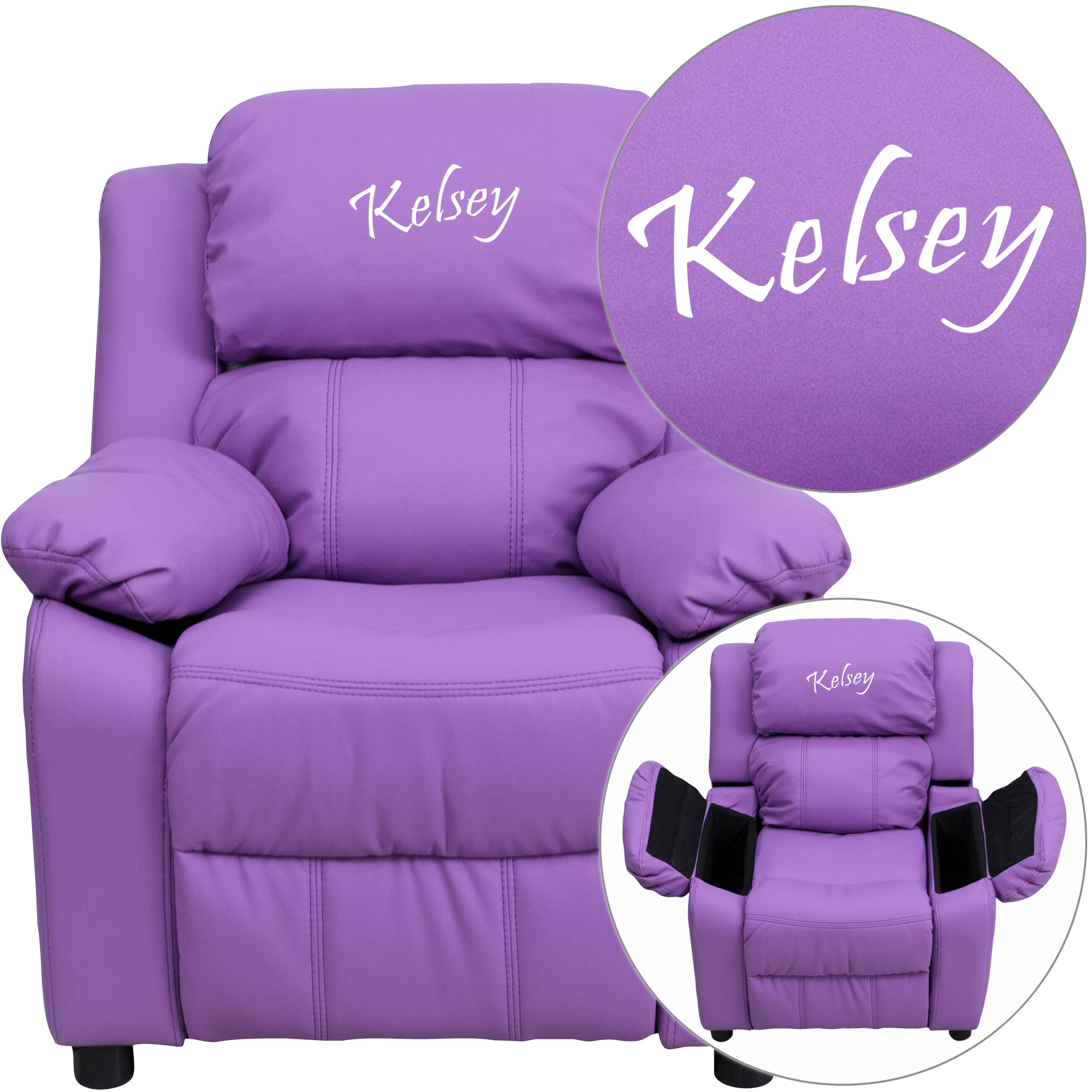 Personalized Deluxe Padded Lavender Vinyl Kids Recliner with Storage Arms & Personalized Kids Recliners at low budget prices | Bizchair.com islam-shia.org