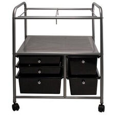 Advantus Five Drawer Mobile Storage Organizer Supension File Cart with Locking Swivel Casters - Chrome Frame with Black Bins