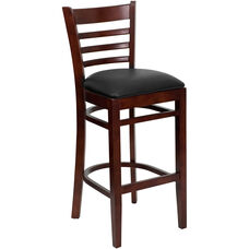 Mahogany Finished Ladder Back Wooden Restaurant Barstool with Black Vinyl Seat