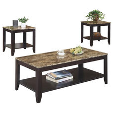 Faux Marble Top 3 Piece Occasional Table Set with Tapered Legs - Cappuccino