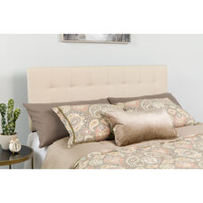 Bedford Tufted Upholstered Twin Size Headboard in Beige Fabric