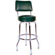 Retro Style Chrome Frame 24''H Swivel Bar Stool with Backrest and Padded Seat - Green Vinyl