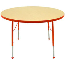 Adjustable Standard Height Laminate Top Round Activity Table - Maple Top with Autumn Orange Edge and Legs - 36
