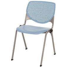 2300 KOOL Series Stacking Poly Armless Chair with Perforated Back and Silver Frame - Sky Blue