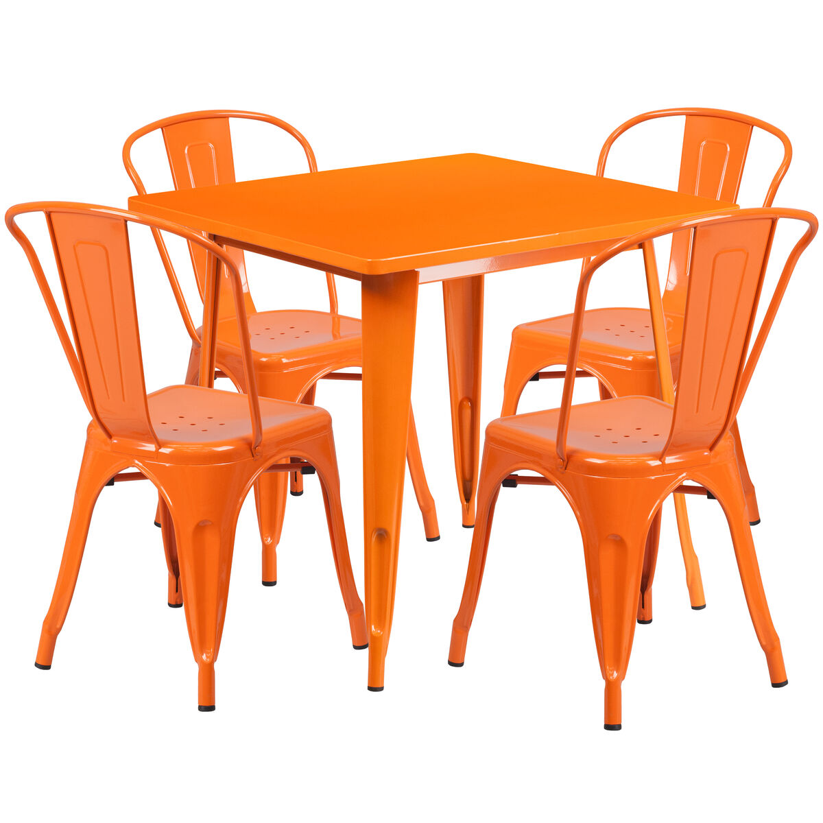 Orange Kitchen Table And Chairs: 31.5'' Square Orange Metal Indoor-Outdoor Table Set With 4