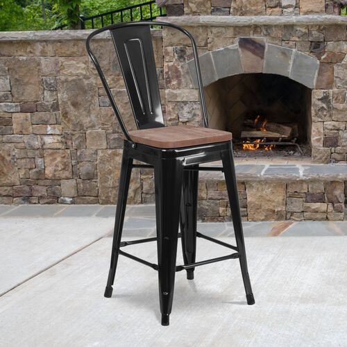 """24"""" High Metal Counter Height Stool with Back and Wood Seat"""