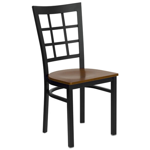 Our Black Window Back Metal Restaurant Chair with Cherry Wood Seat is on sale now.