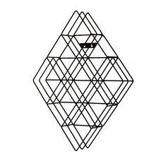 Diamond Shape Steel Frame Wall Mount 108 CD Holder Rack - Matte Black
