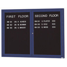 2 Door Indoor Enclosed Directory Board with Blue Anodized Aluminum Frame - 48