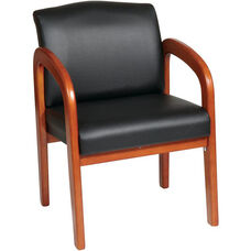 Work Smart Thick Padded Faux Leather Visitors Chair with Lumbar Support - Medium Oak