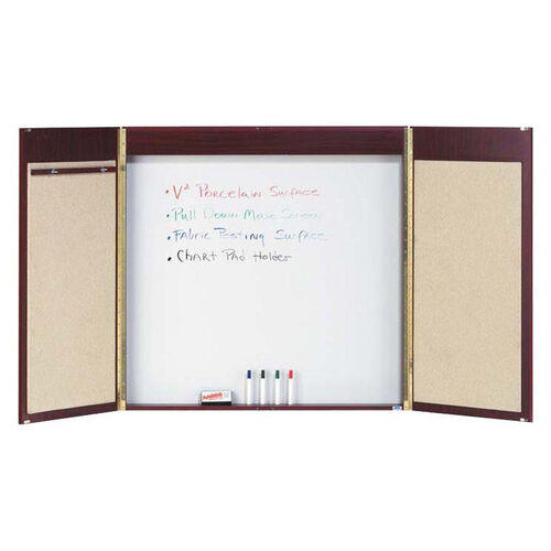Our Cherry Hardwood Conference Cabinet with White Porcelain Marker Board Back Panel and Pull Down Projection Screen - 36