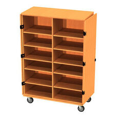 Transporter Storage Cabinet with Center Divider & 6 Adjustable & 2 Fixed Shelves with 2 Locking & 2 Non-Locking Casters - 48