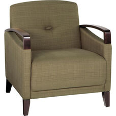 Ave Six Main Street Chair with Espresso Finish Legs and Curved Arms - Seaweed