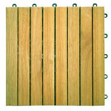 Outdoor Patio 8-Slat Acacia Interlocking Deck Tile - Set of 10