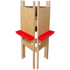 Adjustable Three Person Plywood Easel with Durable Plastic Trays Attached - 20