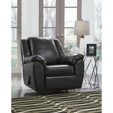 Benchcraft Fezzman Rocker Recliner in Black Leather