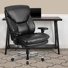 HERCULES Series 24/7 Intensive Use Big & Tall 400 lb. Rated Black LeatherSoft Ergonomic Office Chair with Lumbar Knob