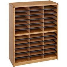 Value Sorter® Thirty-Six Compartment Literature Sorter and Organizer - Medium Oak