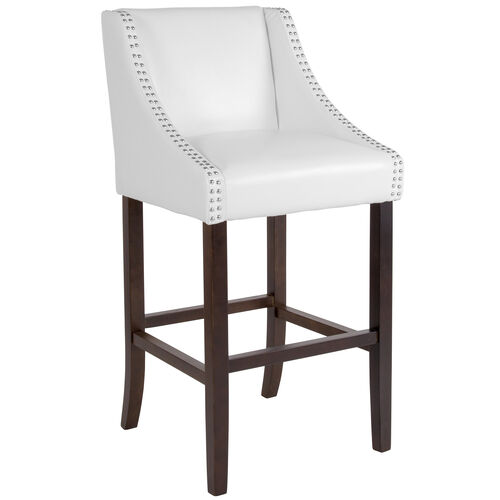 """Our Carmel Series 30"""" High Transitional Walnut Barstool with Accent Nail Trim in White LeatherSoft is on sale now."""