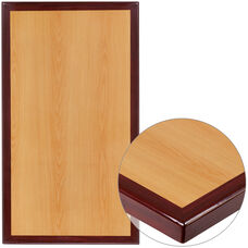 "30"" x 48"" Rectangular 2-Tone High-Gloss Cherry Resin Table Top with 2"" Thick Mahogany Edge"