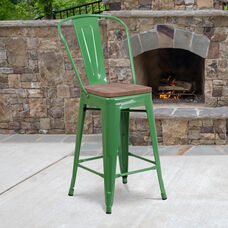 """24"""" High Green Metal Counter Height Stool with Back and Wood Seat"""
