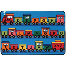 Kids Value Alphabet Train Rectangular Nylon Rug - 48