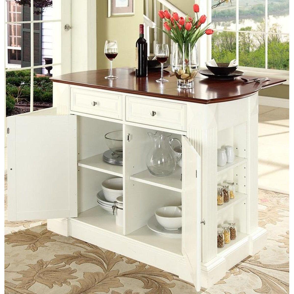 Drop Leaf Breakfast Bar Top Kitchen Island In Classic: Drop Leaf Kitchen Island KF30007WH