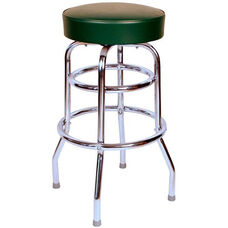 50's Retro Backless 30''H Swivel Bar Stool with Double Ring Chrome Frame and Padded Seat - Green Vinyl