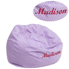 Personalized Small Lavender Dot Bean Bag Chair for Kids and Teens