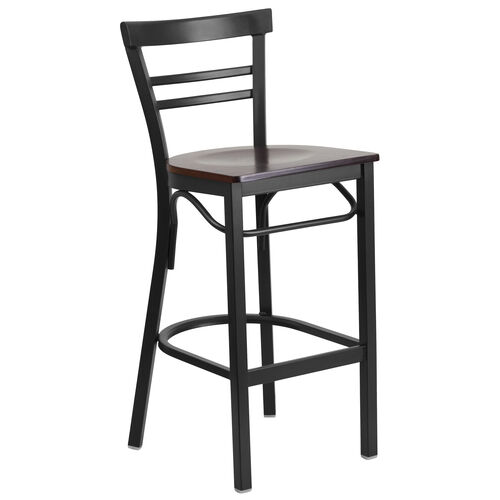 Our HERCULES Series Black Two-Slat Ladder Back Metal Restaurant Barstool - Walnut Wood Seat is on sale now.