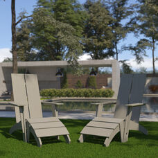 Set of 2 Sawyer Modern All-Weather Poly Resin Wood Adirondack Chairs with Foot Restsin Gray