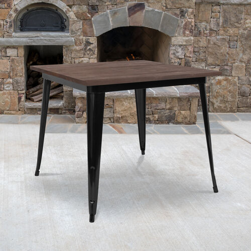 """Our 36"""" Square Black Metal Indoor Table with Walnut Rustic Wood Top is on sale now."""