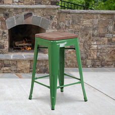 """24"""" High Backless Green Metal Counter Height Stool with Square Wood Seat"""