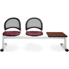 Moon 3-Beam Seating with 2 Wine Vinyl Seats and 1 Table - Cherry Finish