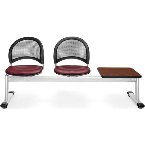 Our Moon 3-Beam Seating with 2 Wine Vinyl Seats and 1 Table - Cherry Finish is on sale now.