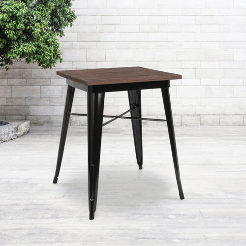 "Our 23.5"" Square Black Metal Indoor Table with Walnut Rustic Wood Top is on sale now."