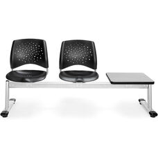 Stars 3-Beam Seating with 2 Plastic Seats and 1 Table - Gray Nebula Finish