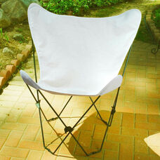 Folding Butterfly Chair with Black Steel Frame and Cotton Cover - Natural
